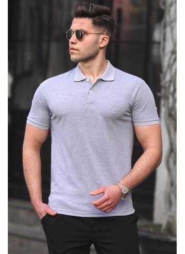Madmext   Basic Polo Yaka Erkek Tişört 5101 Gri